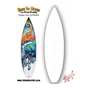 HOW TO DRAW A surfboard Free Art Template for Kids
